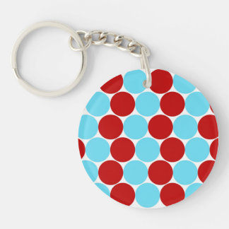 Teal Turquoise Red Big Polka Dots Pattern Gifts Keychain