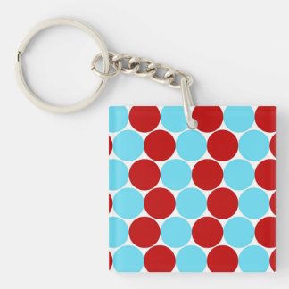 Teal Turquoise Red Big Polka Dots Pattern Gifts Double-Sided Square Acrylic Keychain