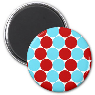 Teal Turquoise Red Big Polka Dots Pattern Gifts Magnet