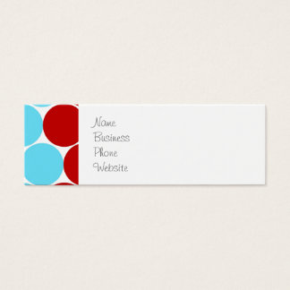 Teal Turquoise Red Big Polka Dots Pattern Gifts Mini Business Card