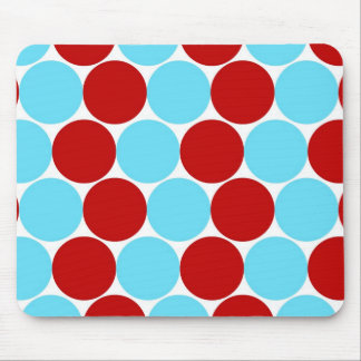 Teal Turquoise Red Big Polka Dots Pattern Gifts Mouse Pad