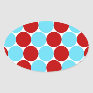 Teal Turquoise Red Big Polka Dots Pattern Gifts Oval Sticker
