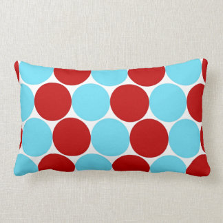 Teal Turquoise Red Big Polka Dots Pattern Gifts Throw Pillow