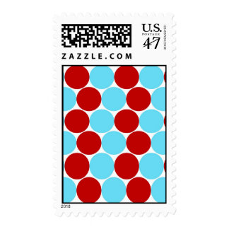 Teal Turquoise Red Big Polka Dots Pattern Gifts Postage