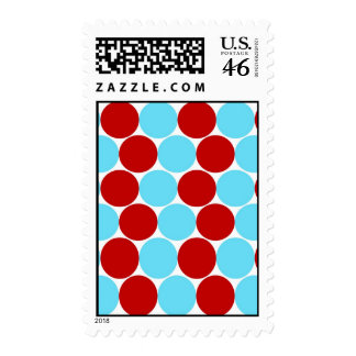 Teal Turquoise Red Big Polka Dots Pattern Gifts Stamp