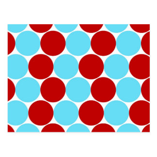 Teal Turquoise Red Big Polka Dots Pattern Gifts Postcard