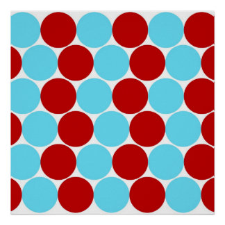 Teal Turquoise Red Big Polka Dots Pattern Gifts Poster