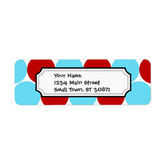 Teal Turquoise Red Big Polka Dots Pattern Gifts Return Address Label
