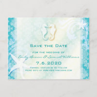 Teal, Turquoise Sea Horse Wedding Save the Date Postcards