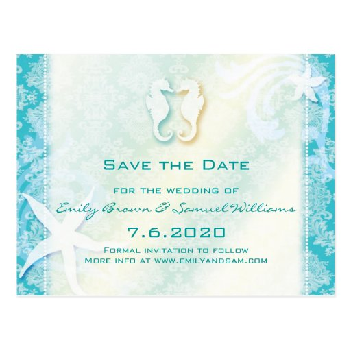 Teal, Turquoise Sea Horse Wedding Save the Date Postcard