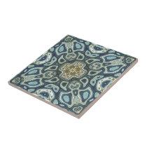 Teal Turquoise Seafoam Green Bali Batik Pattern Ceramic Tile