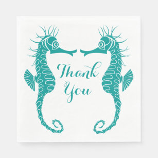 Teal Turquoise Thank You Seahorse Beach Wedding Paper Napkin