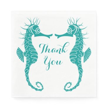 Beach Themed Teal Turquoise Thank You  Seahorse Beach Wedding Paper Napkin