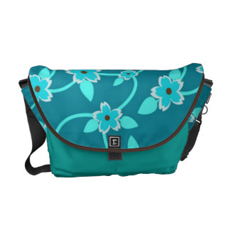 Teal Twining Vines Courier Bags