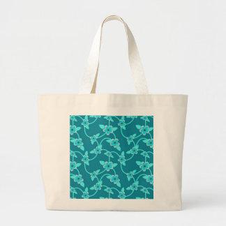Teal Twining Vines Jumbo Tote Bag