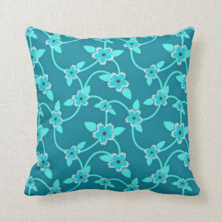 Teal Twining Vines Throw Pillow