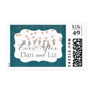Teal Twinkle Lights Happily Ever After Stamp