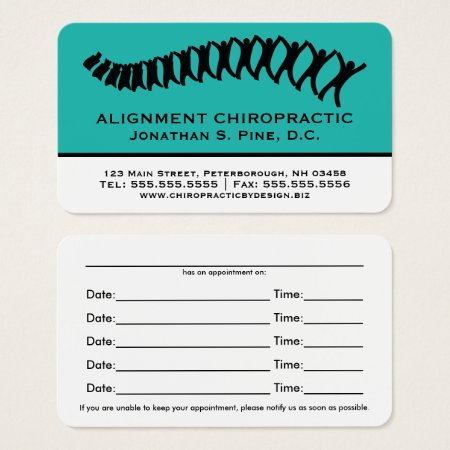 Teal Two Tone Chiropractor Appointment Cards