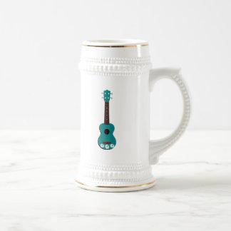 teal ukulele hibiscus design beer stein