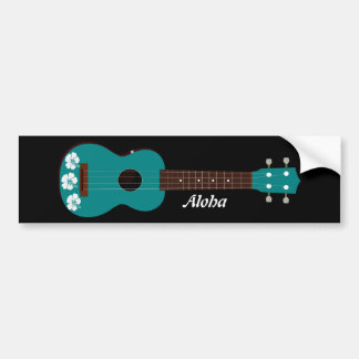 teal ukulele hibiscus design car bumper sticker