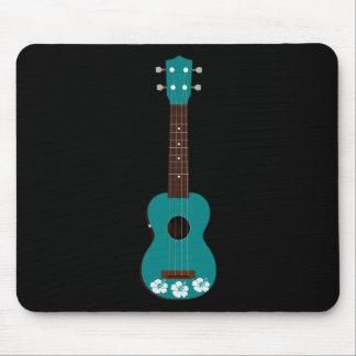 teal ukulele hibiscus design mouse pad