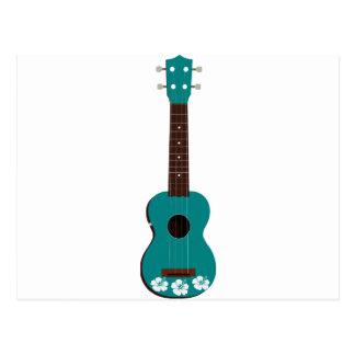 teal ukulele hibiscus design postcard