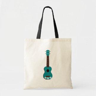 teal ukulele hibiscus design tote bag
