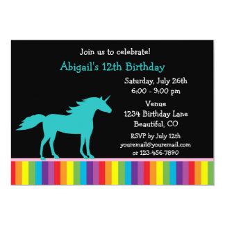 Teal Unicorn and Rainbow Girls Birthday Invitation