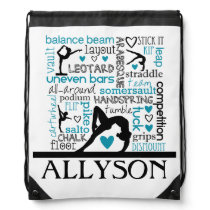 Teal Variation of Gymnastics Words w/ Monogram Drawstring Bag