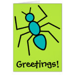 Teal Vector Ant (Green Background) Greeting Card
