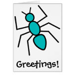 Teal Vector Ant Greeting Card