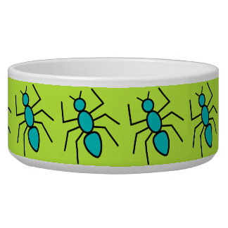 Teal Vector Ants (Green Background) Pet Food Bowls