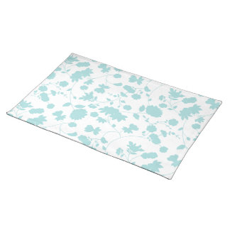 Teal Vector Floral Vines Pattern Placemat