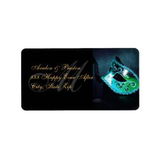 Teal Venetian Masquerade Mask Address Label