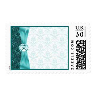 Teal Victorian Damask Diamond Accent Postage Stamp