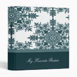 Teal Victorian Damask Recipe Book Binder