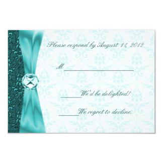 Teal Victorian Diamond Accent Damask RSVP Card