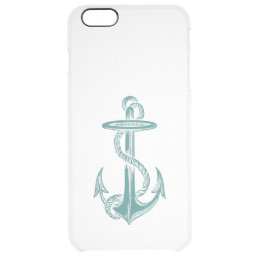 Teal Vintage Anchor Clear iPhone 6 Plus Case