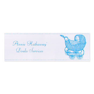 Teal Vintage Baby Buggy Doula Business Cards