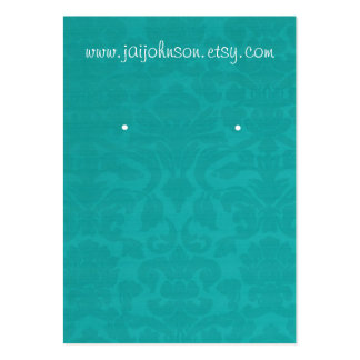 Teal Vintage Background Earring Cards Business Card Templates