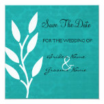 "Teal Vintage Background Save The Date Invites 5.25"" Square Invitation Card"