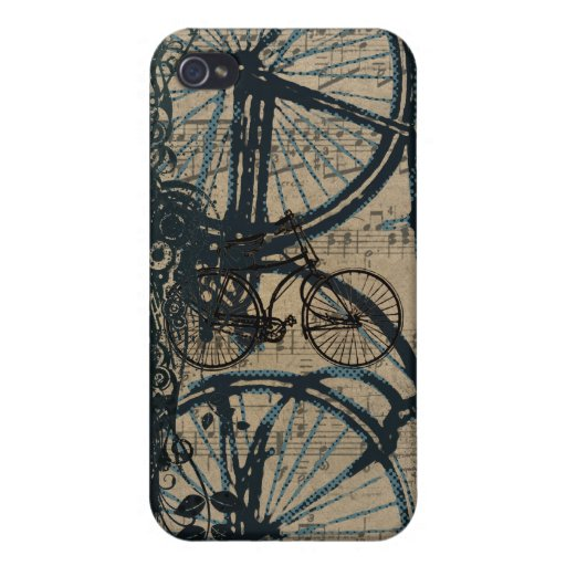 Teal Vintage Bicycle iPhone Cover Cover For iPhone 4