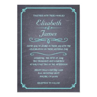Teal Vintage Chalkboard Wedding Invitations