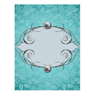 teal,vintage,chic,pearls,silver,lace,pattern,white postcard