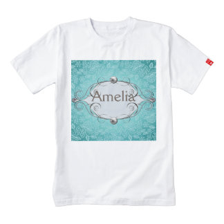 teal,vintage,chic,pearls,silver,lace,pattern,white zazzle HEART T-Shirt