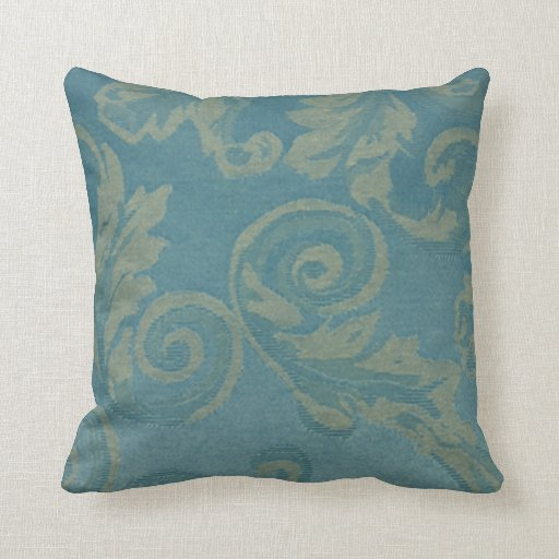 Vintage Victorian Pillows : Teal vintage damask victorian elegant chic fabric throw pillows