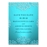 Teal Vintage Damask Wedding Save The Date Card