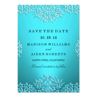 Teal Vintage Damask Wedding Save The Date Personalized Invitation