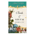 Teal Vintage Eiffel Tower Rose Favor Gift Tags Business Card Template