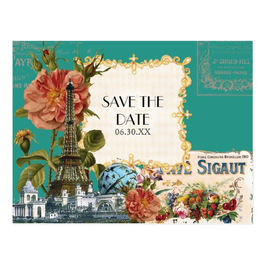 Teal Vintage Eiffel Tower Rose Save the Date Card